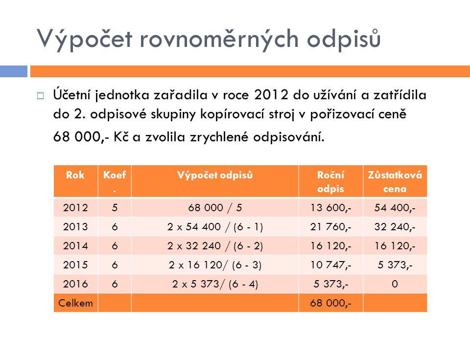 Výpočet rovnoměrných odpisů  Účetní jednotka zařadila v roce 2012 do užívání a zatřídila do 2. odpisové skupiny kopírovací stroj v pořizovací ceně 68