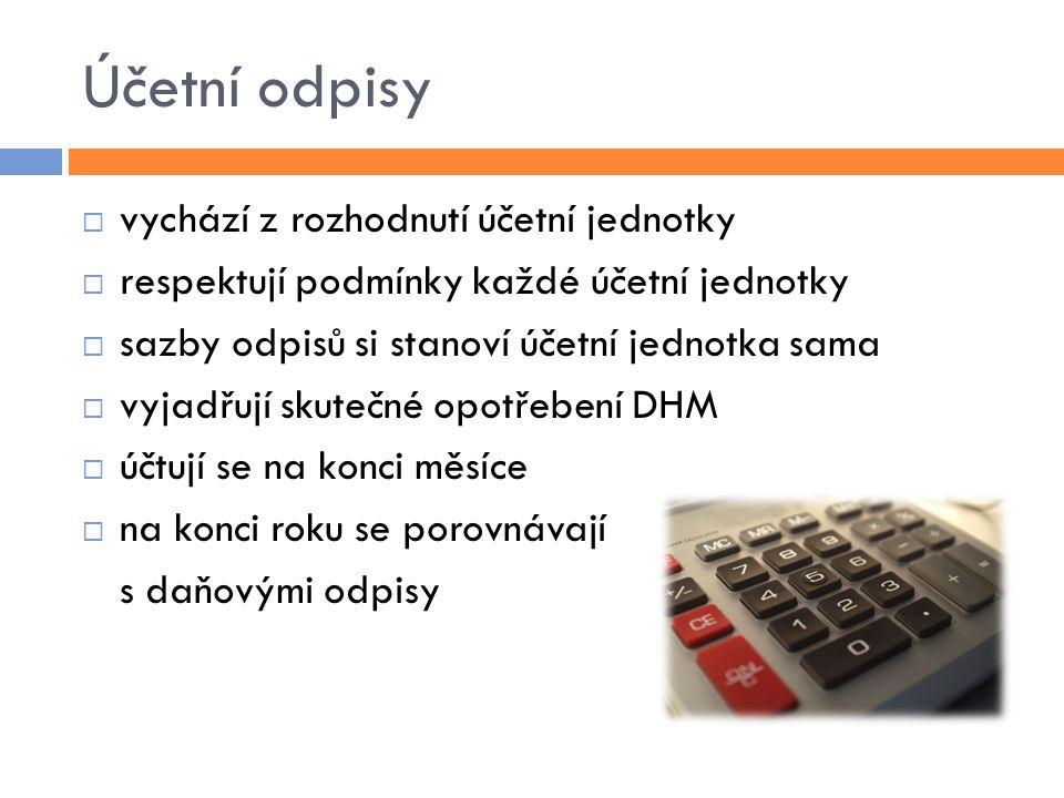 Účetní odpisy  vychází z rozhodnutí účetní jednotky  respektují podmínky každé účetní jednotky  sazby odpisů si stanoví účetní jednotka sama  vyja