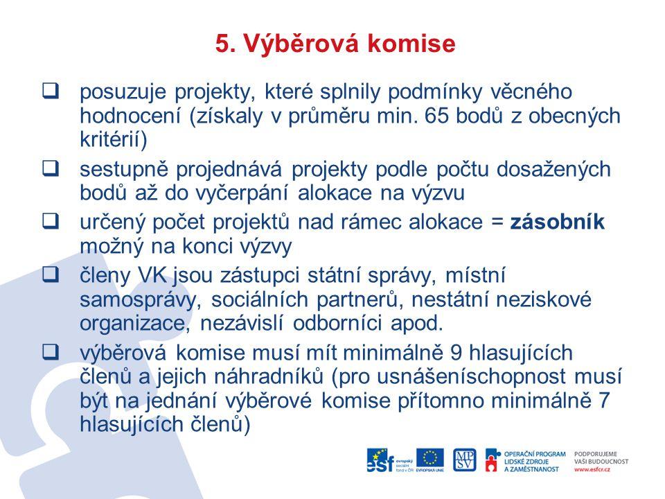 5. Výběrová komise  posuzuje projekty, které splnily podmínky věcného hodnocení (získaly v průměru min. 65 bodů z obecných kritérií)  sestupně proje