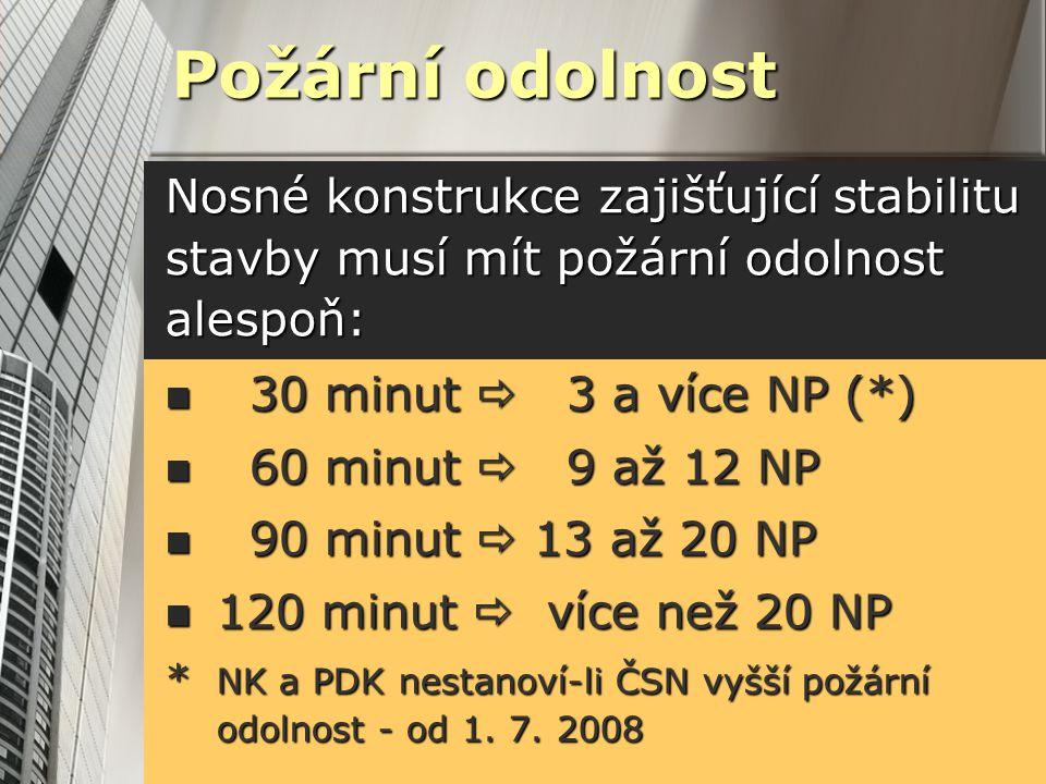 Nosné konstrukce zajišťující stabilitu stavby musí mít požární odolnost alespoň: Požární odolnost 30 minut  3 a více NP (*) 30 minut  3 a více NP (*) 60 minut  9 až 12 NP 60 minut  9 až 12 NP 90 minut  13 až 20 NP 90 minut  13 až 20 NP 120 minut  více než 20 NP 120 minut  více než 20 NP * NK a PDK nestanoví-li ČSN vyšší požární odolnost - od 1.