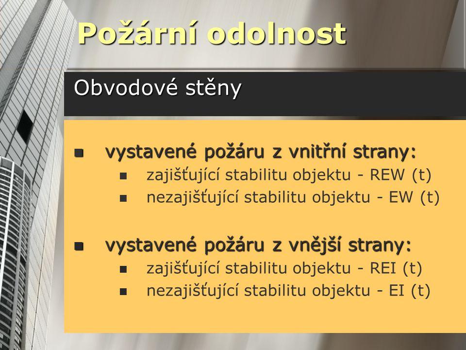 Obvodové stěny Požární odolnost vystavené požáru z vnitřní strany: vystavené požáru z vnitřní strany: zajišťující stabilitu objektu - REW (t) nezajišťující stabilitu objektu - EW (t) vystavené požáru z vnější strany: vystavené požáru z vnější strany: zajišťující stabilitu objektu - REI (t) nezajišťující stabilitu objektu - EI (t)