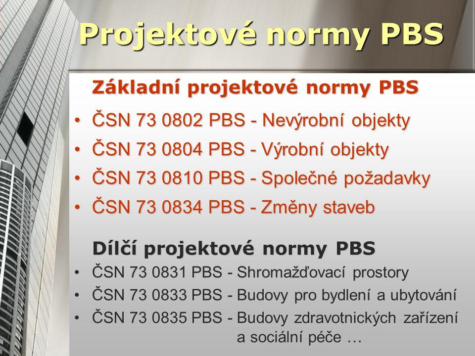 Projektové normy PBS Základní projektové normy PBS ČSN 73 0802 PBS - Nevýrobní objektyČSN 73 0802 PBS - Nevýrobní objekty ČSN 73 0804 PBS - Výrobní objektyČSN 73 0804 PBS - Výrobní objekty ČSN 73 0810 PBS - Společné požadavkyČSN 73 0810 PBS - Společné požadavky ČSN 73 0834 PBS - Změny stavebČSN 73 0834 PBS - Změny staveb Dílčí projektové normy PBS ČSN 73 0831 PBS - Shromažďovací prostoryČSN 73 0831 PBS - Shromažďovací prostory ČSN 73 0833 PBS - Budovy pro bydlení a ubytováníČSN 73 0833 PBS - Budovy pro bydlení a ubytování ČSN 73 0835 PBS - Budovy zdravotnických zařízení a sociální péče …ČSN 73 0835 PBS - Budovy zdravotnických zařízení a sociální péče …