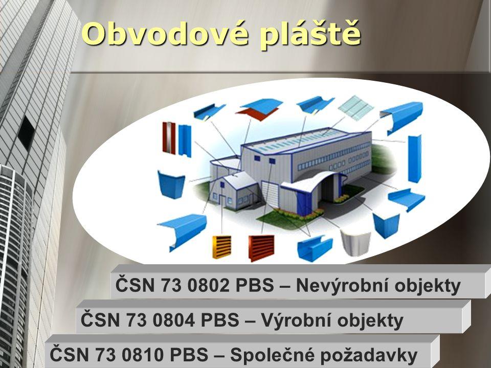 Obvodové pláště ČSN 73 0804 PBS – Výrobní objekty ČSN 73 0810 PBS – Společné požadavky ČSN 73 0802 PBS – Nevýrobní objekty