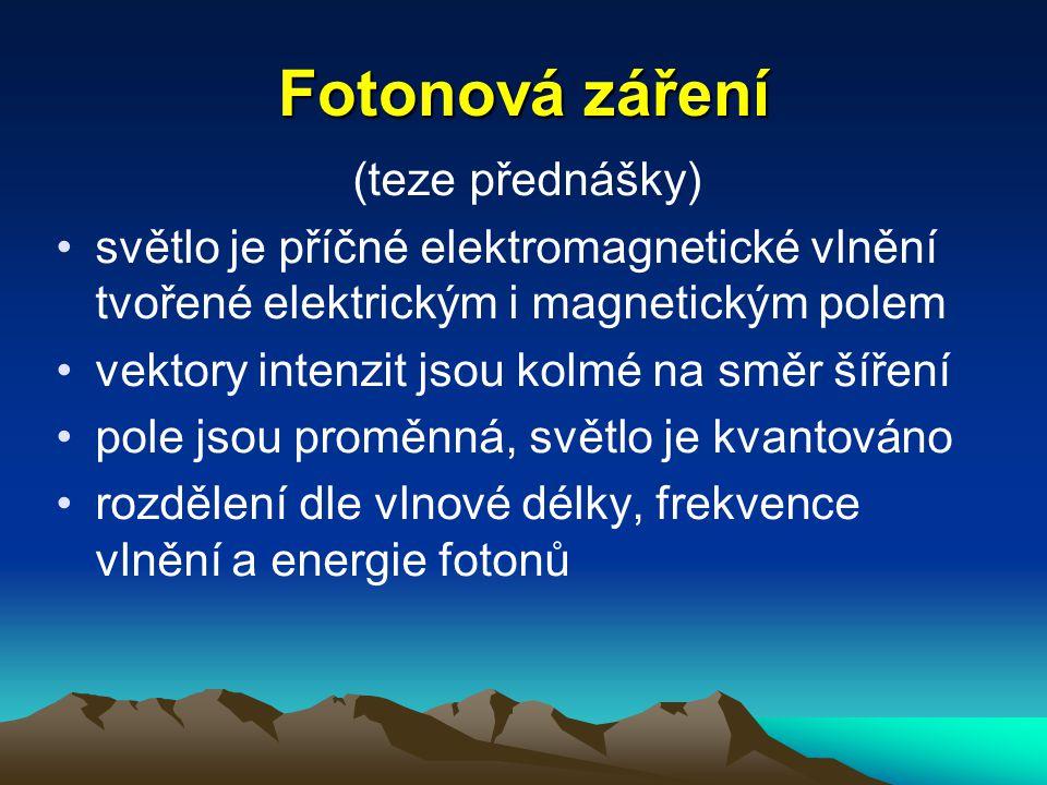Fotonová záření (teze přednášky) světlo je příčné elektromagnetické vlnění tvořené elektrickým i magnetickým polem vektory intenzit jsou kolmé na směr šíření pole jsou proměnná, světlo je kvantováno rozdělení dle vlnové délky, frekvence vlnění a energie fotonů