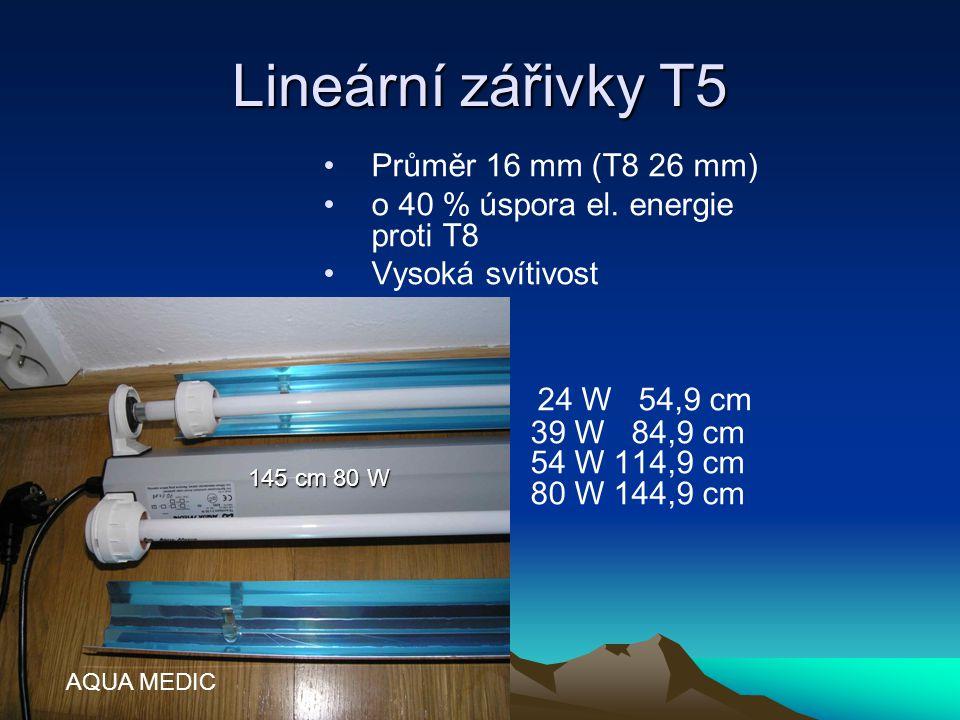 Lineární zářivky T5 Průměr 16 mm (T8 26 mm) o 40 % úspora el. energie proti T8 Vysoká svítivost 24 W 54,9 cm 39 W 84,9 cm 54 W 114,9 cm 80 W 144,9 cm