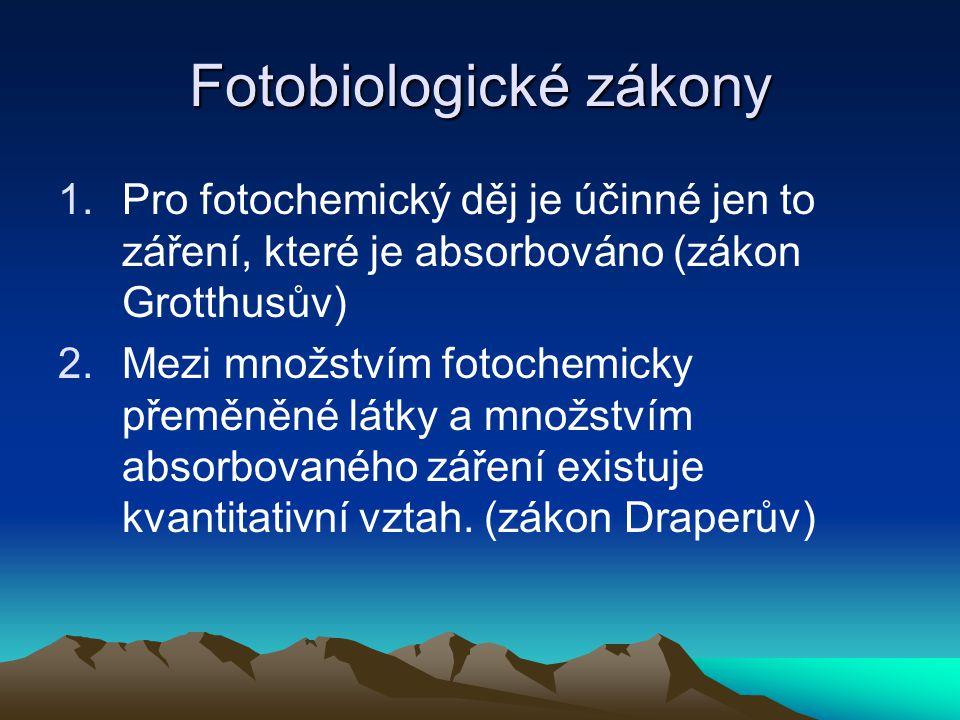 Fotobiologické zákony 1.Pro fotochemický děj je účinné jen to záření, které je absorbováno (zákon Grotthusův) 2.Mezi množstvím fotochemicky přeměněné látky a množstvím absorbovaného záření existuje kvantitativní vztah.
