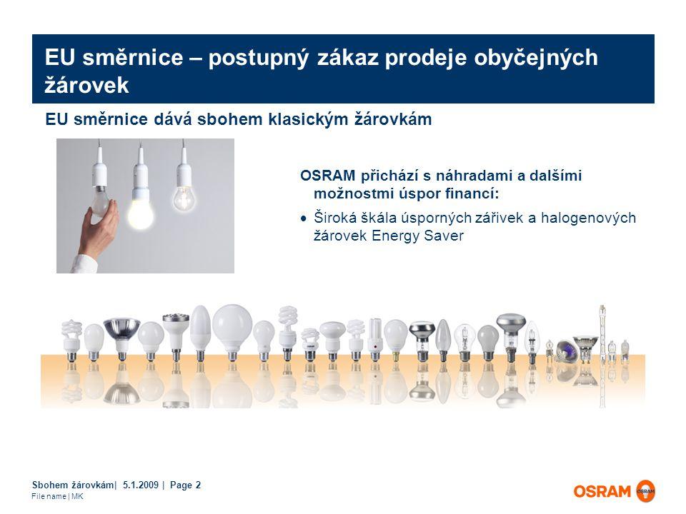 Sbohem žárovkám| 5.1.2009 | Page 2 File name | MK EU směrnice – postupný zákaz prodeje obyčejných žárovek OSRAM přichází s náhradami a dalšími možnostmi úspor financí:  Široká škála úsporných zářivek a halogenových žárovek Energy Saver EU směrnice dává sbohem klasickým žárovkám