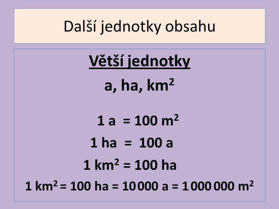Další jednotky obsahu Větší jednotky a, ha, km 2 1 a = 100 m 2 1 ha = 100 a 1 km 2 = 100 ha 1 km 2 = 100 ha = 10 000 a = 1 000 000 m 2