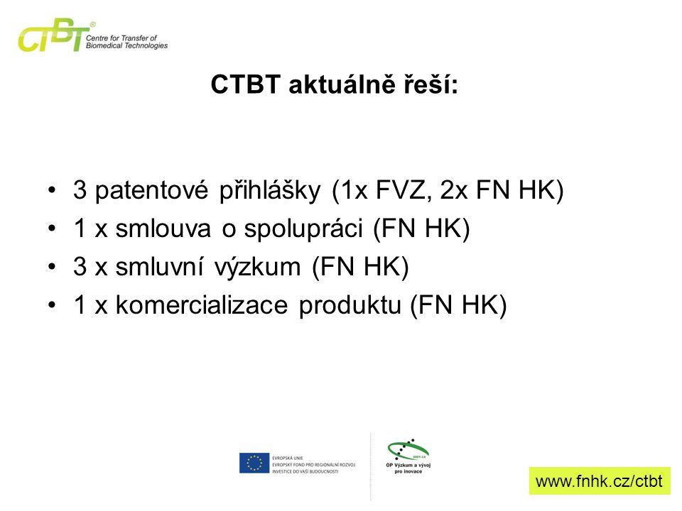 CTBT aktuálně řeší: 3 patentové přihlášky (1x FVZ, 2x FN HK) 1 x smlouva o spolupráci (FN HK) 3 x smluvní výzkum (FN HK) 1 x komercializace produktu (FN HK) www.fnhk.cz/ctbt