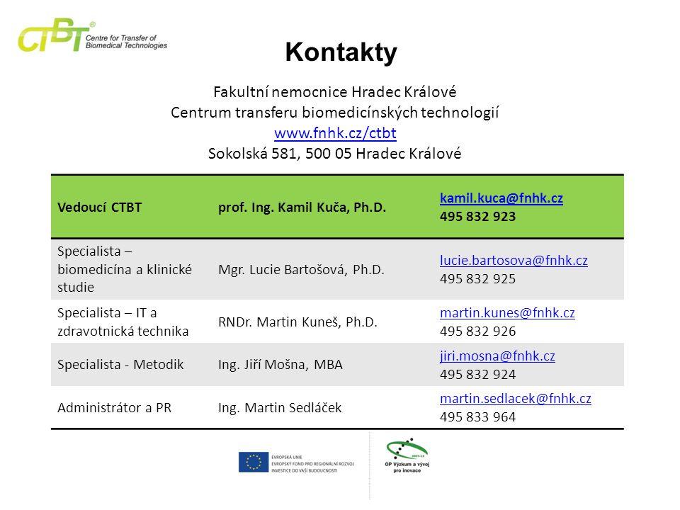 Fakultní nemocnice Hradec Králové Centrum transferu biomedicínských technologií www.fnhk.cz/ctbt Sokolská 581, 500 05 Hradec Králové Kontakty Vedoucí CTBTprof.