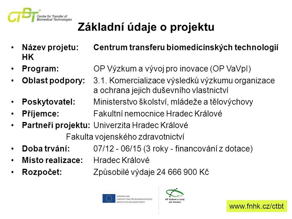 Základní údaje o projektu Název projetu: Centrum transferu biomedicínských technologií HK Program: OP Výzkum a vývoj pro inovace (OP VaVpI) Oblast podpory:3.1.