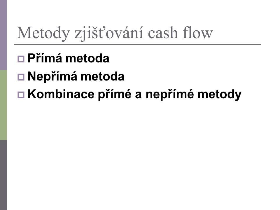 CASH FLOW – metody sestavení PŘÍMÁ metoda CF je sestaven na základě skutečných plateb, je třeba je však z účetních výkazů dohledat, Nejsou patrné zdroje a užití peněžních prostředků.