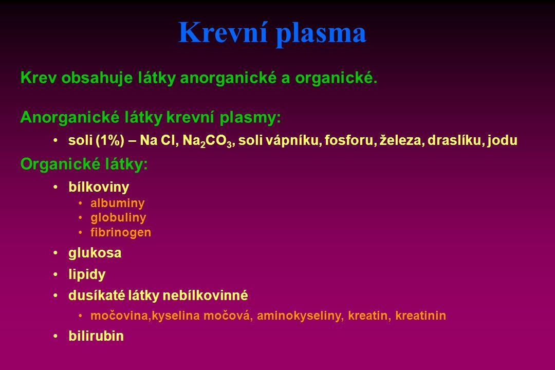 Krev obsahuje látky anorganické a organické. Anorganické látky krevní plasmy: soli (1%) – Na Cl, Na 2 CO 3, soli vápníku, fosforu, železa, draslíku, j