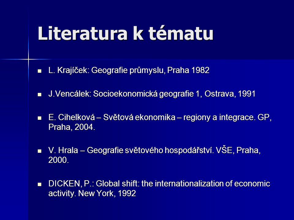 Literatura k tématu L. Krajíček: Geografie průmyslu, Praha 1982 L. Krajíček: Geografie průmyslu, Praha 1982 J.Vencálek: Socioekonomická geografie 1, O