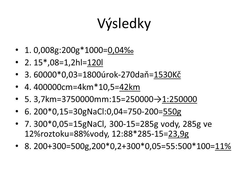 Výsledky 1. 0,008g:200g*1000=0,04‰ 2. 15*,08=1,2hl=120l 3. 60000*0,03=1800úrok-270daň=1530Kč 4. 400000cm=4km*10,5=42km 5. 3,7km=3750000mm:15=250000→1:
