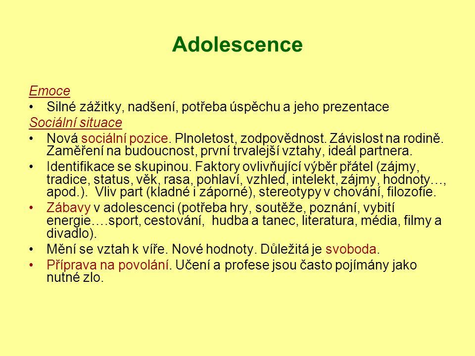 Adolescence Emoce Silné zážitky, nadšení, potřeba úspěchu a jeho prezentace Sociální situace Nová sociální pozice. Plnoletost, zodpovědnost. Závislost