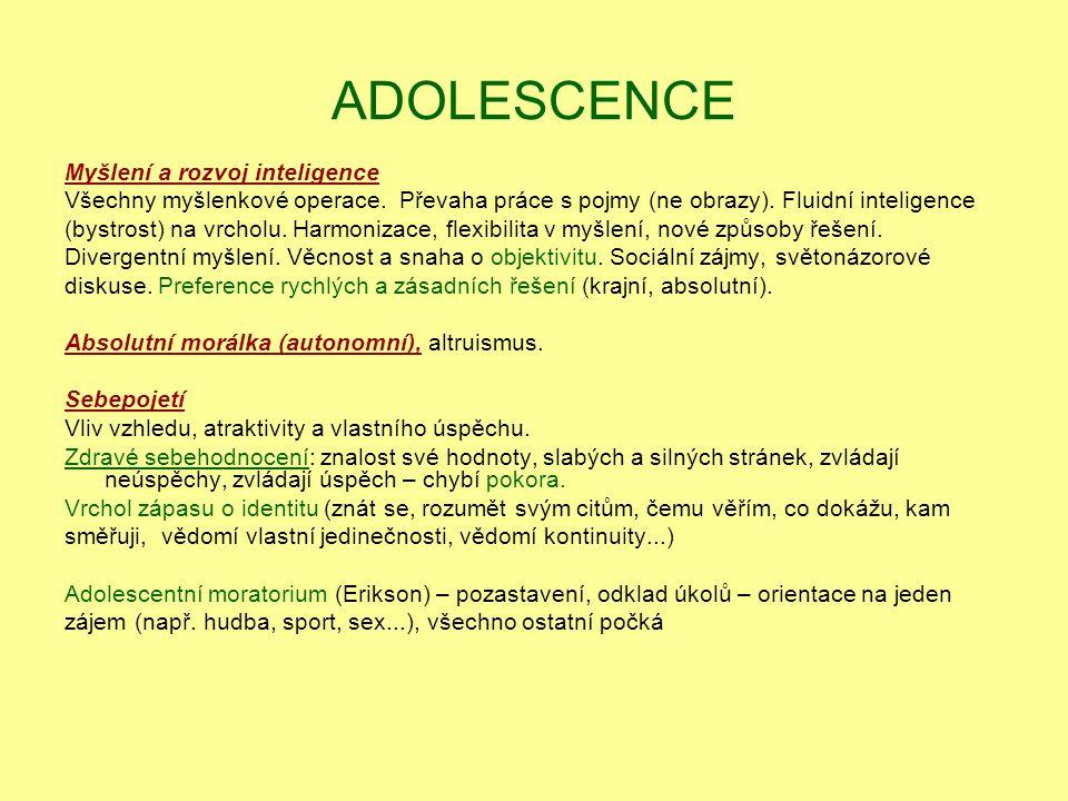 ADOLESCENCE Myšlení a rozvoj inteligence Všechny myšlenkové operace. Převaha práce s pojmy (ne obrazy). Fluidní inteligence (bystrost) na vrcholu. Har