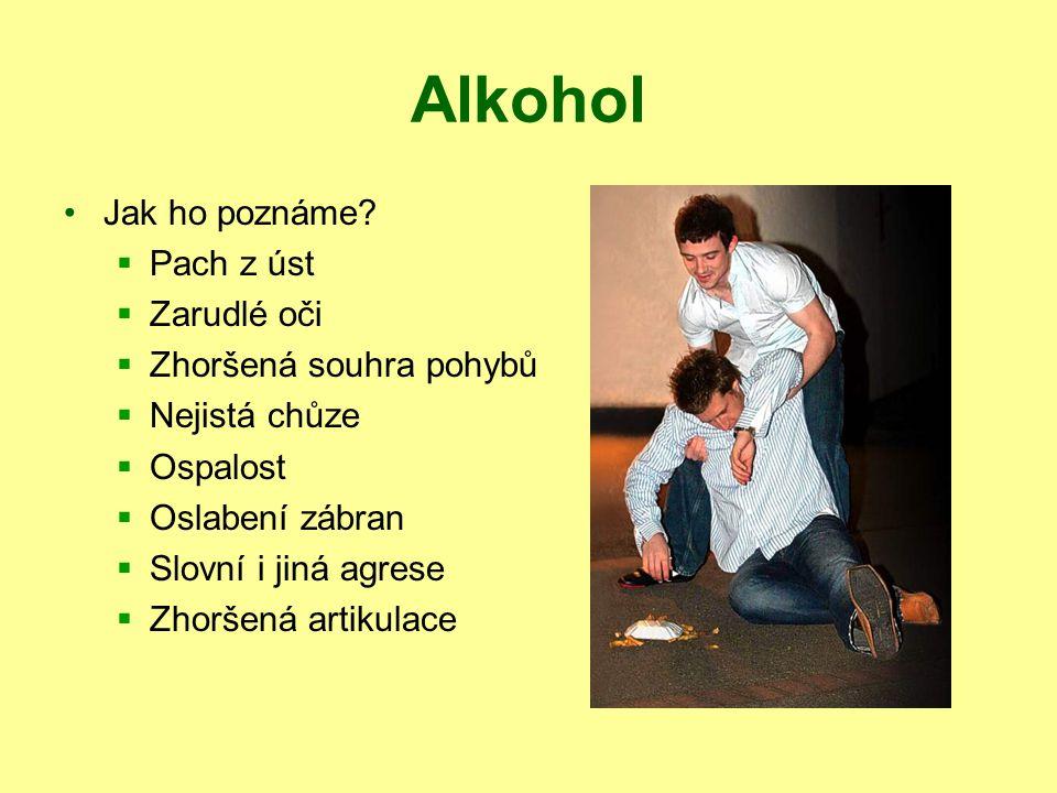 Alkohol Jak ho poznáme?  Pach z úst  Zarudlé oči  Zhoršená souhra pohybů  Nejistá chůze  Ospalost  Oslabení zábran  Slovní i jiná agrese  Zhor
