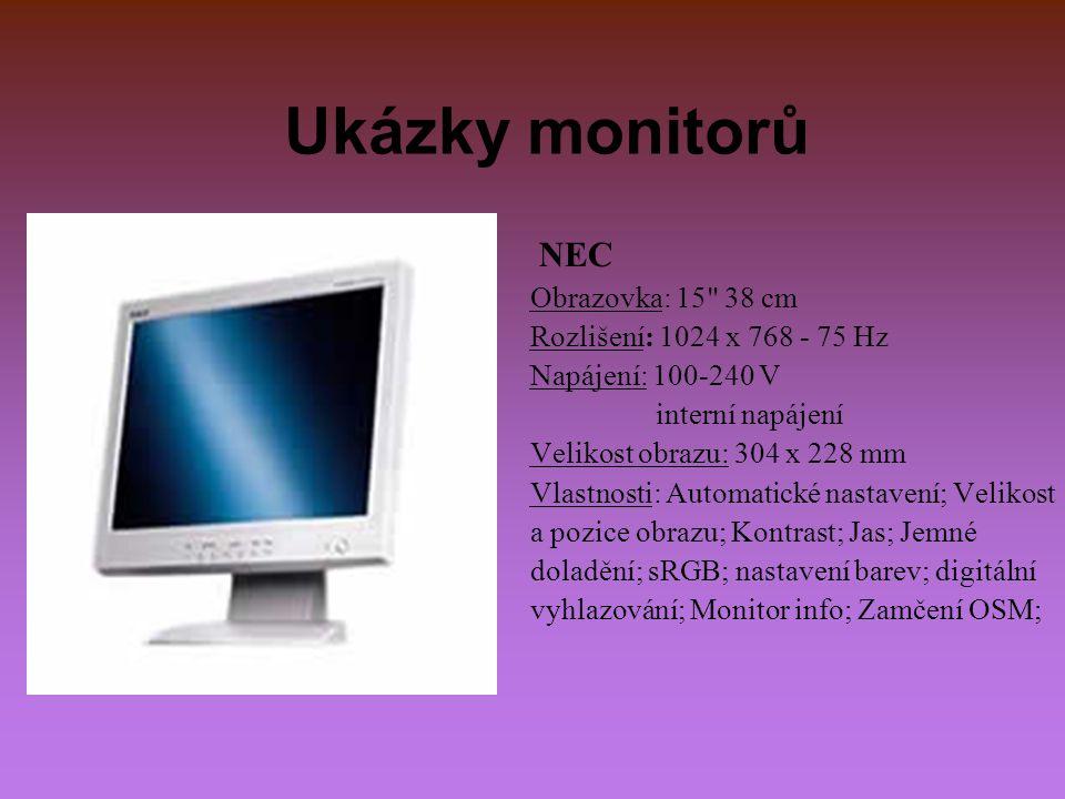 Ukázky monitorů NEC Obrazovka: 15