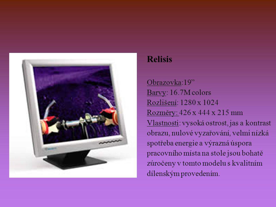 """Relisis Obrazovka:19"""" Barvy: 16.7M colors Rozlišení: 1280 x 1024 Rozměry: 426 x 444 x 215 mm Vlastnosti: vysoká ostrost, jas a kontrast obrazu, nulové"""