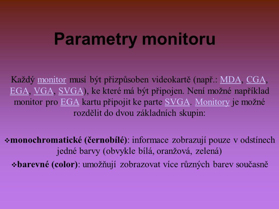 Parametry monitoru Každý monitor musí být přizpůsoben videokartě (např.: MDA, CGA, EGA, VGA, SVGA), ke které má být připojen. Není možné například mon