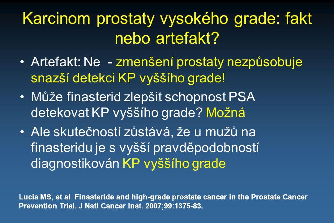 Karcinom prostaty vysokého grade: fakt nebo artefakt? Artefakt: Ne - zmenšení prostaty nezpůsobuje snazší detekci KP vyššího grade! Může finasterid zl