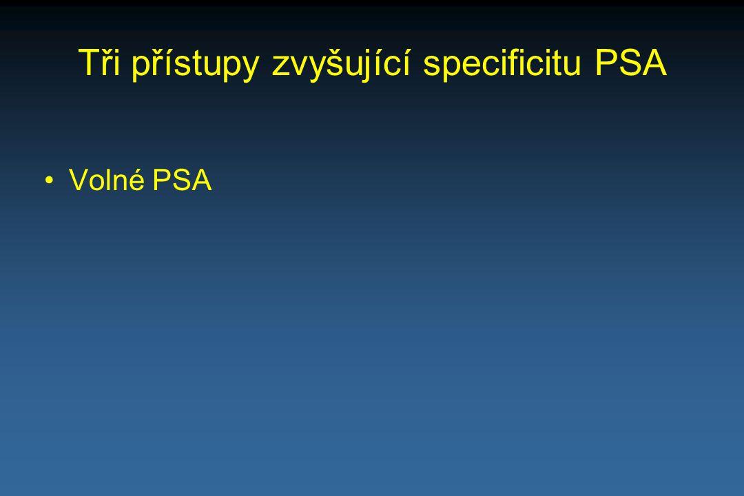 Tři přístupy zvyšující specificitu PSA Volné PSA