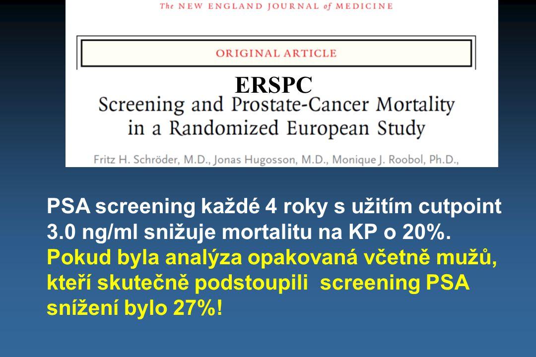 ERSPC PSA screening každé 4 roky s užitím cutpoint 3.0 ng/ml snižuje mortalitu na KP o 20%. Pokud byla analýza opakovaná včetně mužů, kteří skutečně p