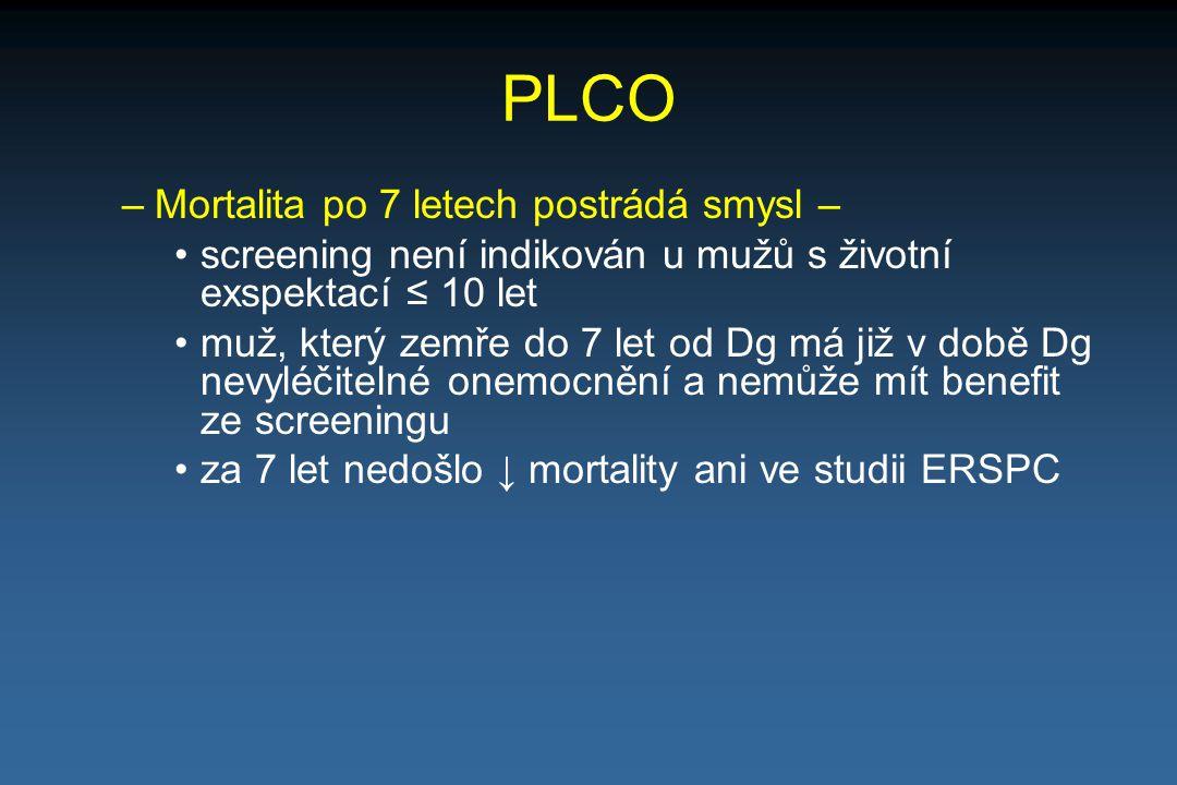PLCO –Mortalita po 7 letech postrádá smysl – screening není indikován u mužů s životní exspektací ≤ 10 let muž, který zemře do 7 let od Dg má již v do