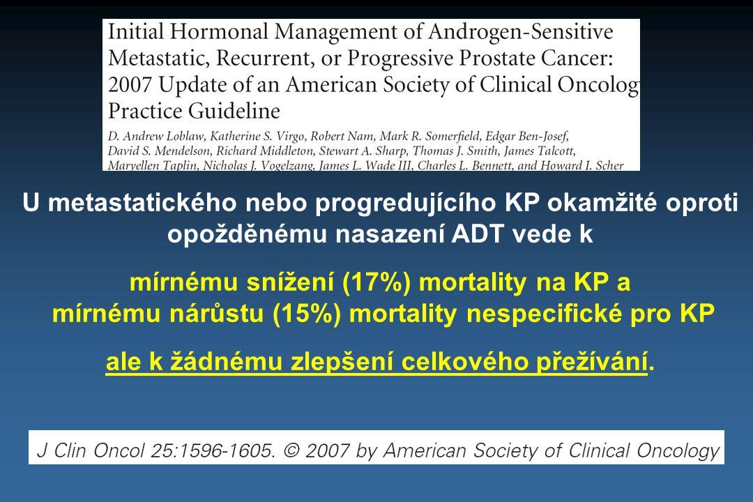 U metastatického nebo progredujícího KP okamžité oproti opožděnému nasazení ADT vede k mírnému snížení (17%) mortality na KP a mírnému nárůstu (15%) m