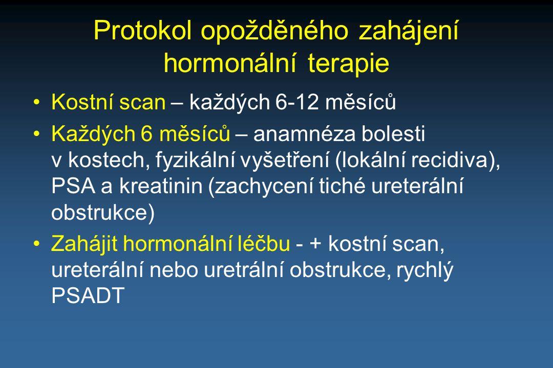 Protokol opožděného zahájení hormonální terapie Kostní scan – každých 6-12 měsíců Každých 6 měsíců – anamnéza bolesti v kostech, fyzikální vyšetření (