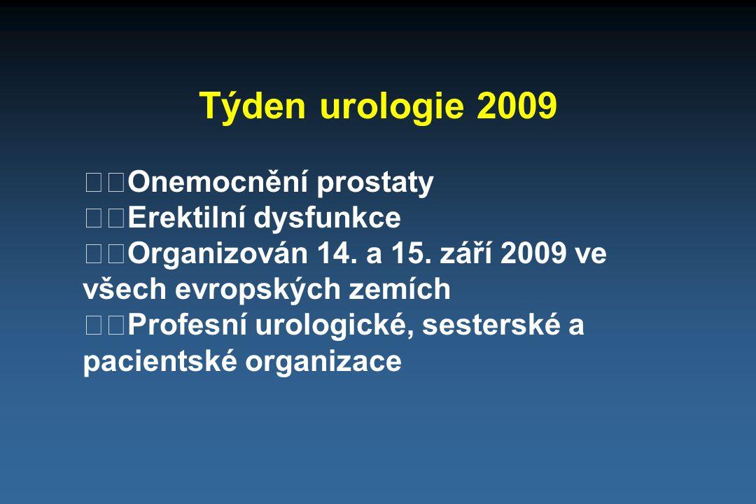 Týden urologie 2009 Onemocnění prostaty Erektilní dysfunkce Organizován 14. a 15. září 2009 ve všech evropských zemích Profesní urologické, sesterské