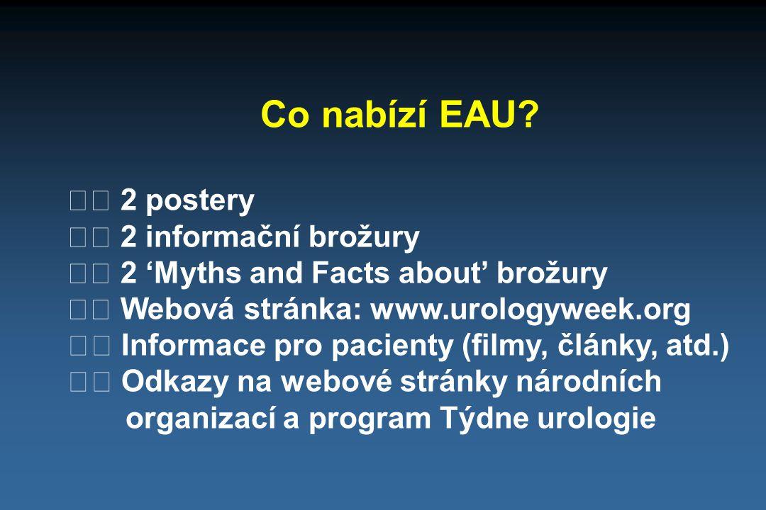 Co nabízí EAU? 2 postery 2 informační brožury 2 'Myths and Facts about' brožury Webová stránka: www.urologyweek.org Informace pro pacienty (filmy, člá