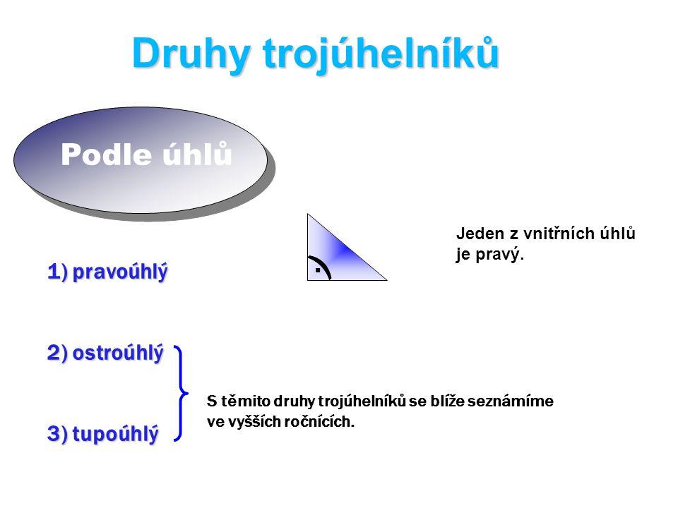 Podle úhlů Druhy trojúhelníků 1) pravoúhlý 2) ostroúhlý 3) tupoúhlý Jeden z vnitřních úhlů je pravý.