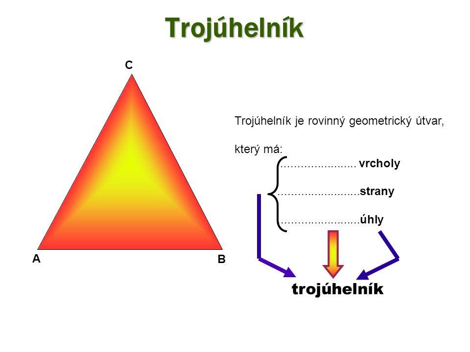 Trojúhelník Trojúhelník je rovinný geometrický útvar, který má:.......................