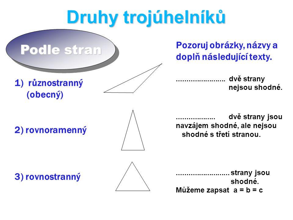 Druhy trojúhelníků Podle stran 1) různostranný (obecný) 2) rovnoramenný 3) rovnostranný Pozoruj obrázky, názvy a doplň následující texty.........................
