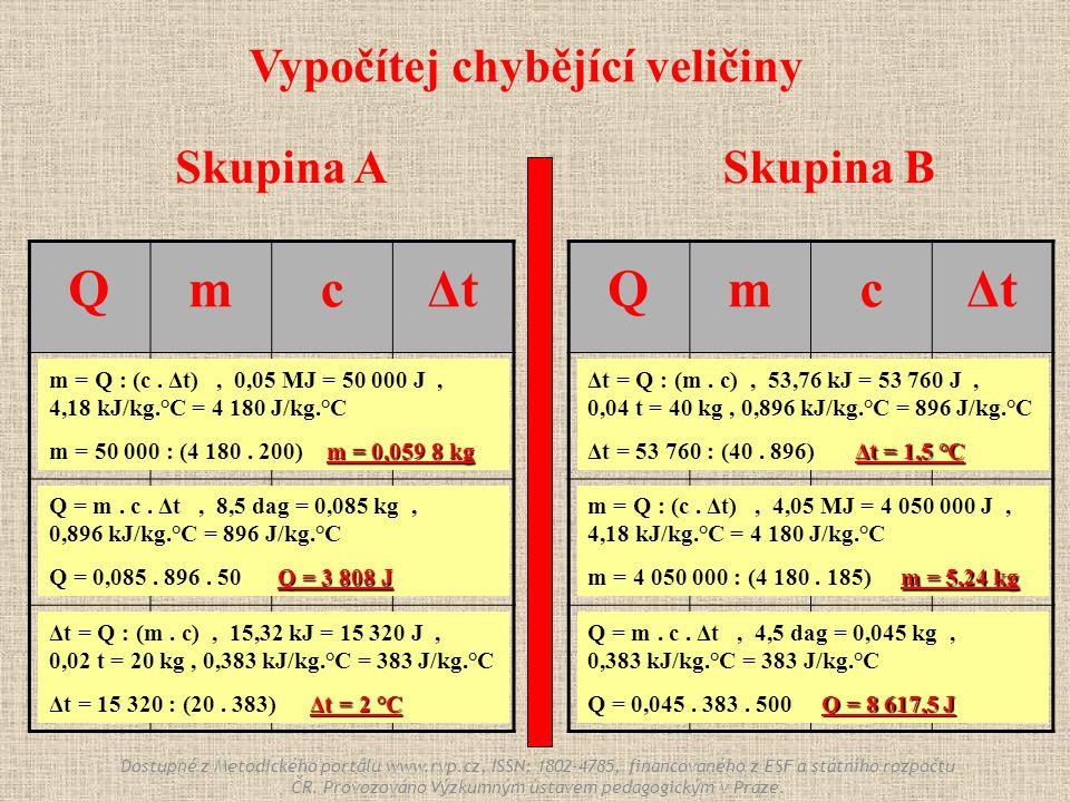 Skupina ASkupina B QmcΔtΔt 0,05 MJ . 4,18 kJ/kg.°C 200 °C .