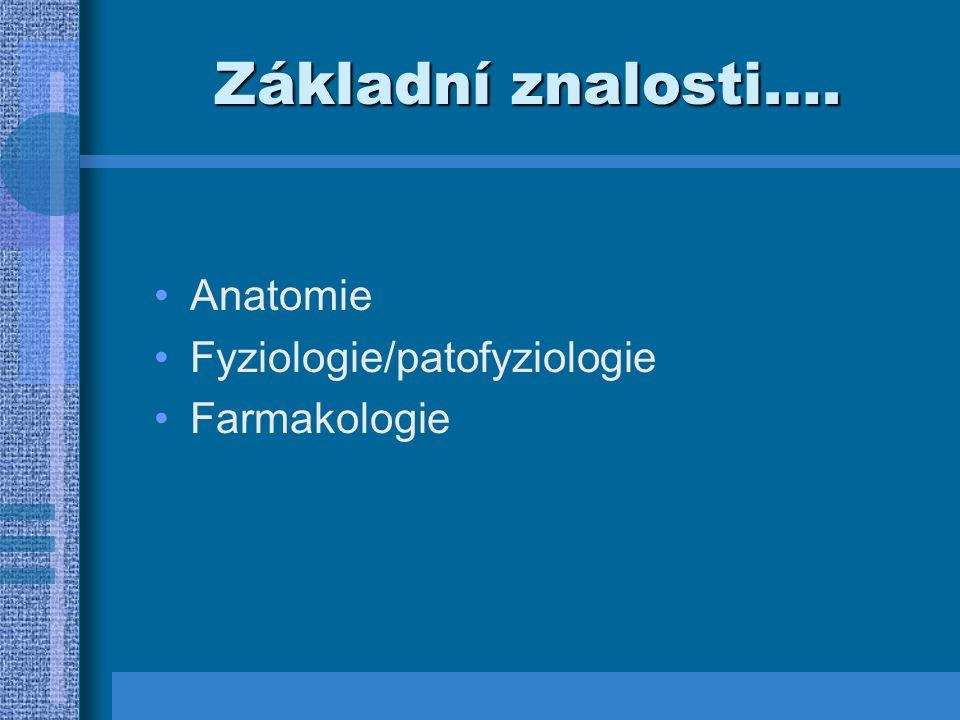 Základní znalosti…. Anatomie Fyziologie/patofyziologie Farmakologie