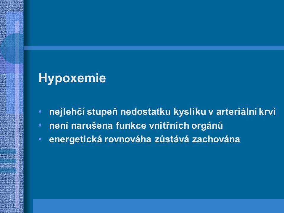 Hypoxemie nejlehčí stupeň nedostatku kyslíku v arteriální krvi není narušena funkce vnitřních orgánů energetická rovnováha zůstává zachována