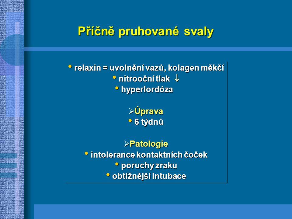 relaxin = uvolnění vazů, kolagen měkčí relaxin = uvolnění vazů, kolagen měkčí nitrooční tlak  nitrooční tlak  hyperlordóza hyperlordóza  Úprava 6 týdnů 6 týdnů  Patologie intolerance kontaktních čoček intolerance kontaktních čoček poruchy zraku poruchy zraku obtížnější intubace obtížnější intubace relaxin = uvolnění vazů, kolagen měkčí relaxin = uvolnění vazů, kolagen měkčí nitrooční tlak  nitrooční tlak  hyperlordóza hyperlordóza  Úprava 6 týdnů 6 týdnů  Patologie intolerance kontaktních čoček intolerance kontaktních čoček poruchy zraku poruchy zraku obtížnější intubace obtížnější intubace Příčně pruhované svaly