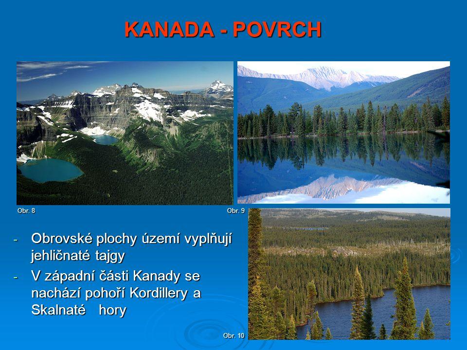 KANADA - POVRCH - Obrovské plochy území vyplňují jehličnaté tajgy - V západní části Kanady se nachází pohoří Kordillery a Skalnaté hory Obr. 8 Obr. 9