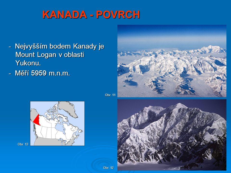 KANADA - POVRCH - Nejvyšším bodem Kanady je Mount Logan v oblasti Yukonu. - Nejvyšším bodem Kanady je Mount Logan v oblasti Yukonu. - Měří 5959 m.n.m.