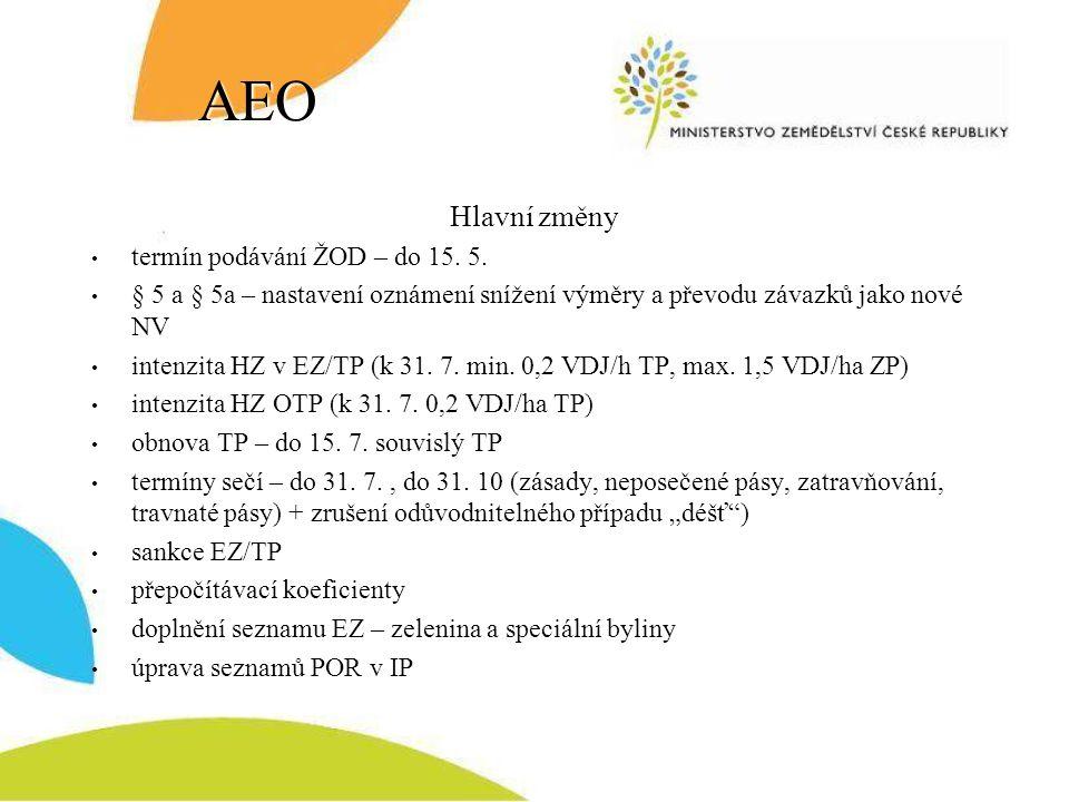 AEO Hlavní změny termín podávání ŽOD – do 15. 5. § 5 a § 5a – nastavení oznámení snížení výměry a převodu závazků jako nové NV intenzita HZ v EZ/TP (k