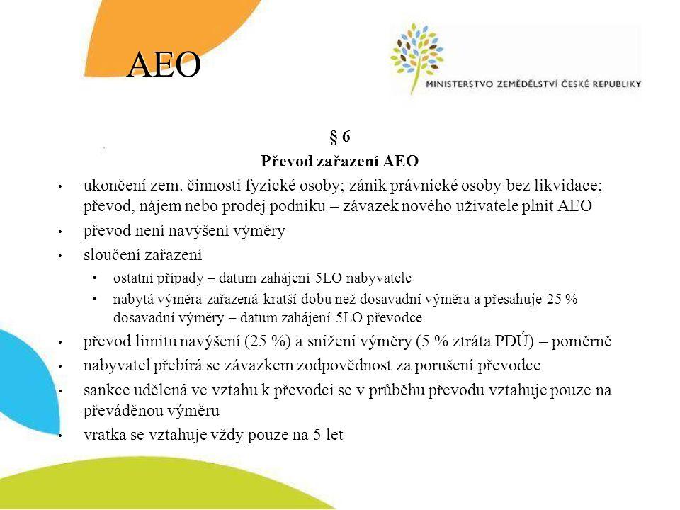 AEO § 6 Převod zařazení AEO ukončení zem. činnosti fyzické osoby; zánik právnické osoby bez likvidace; převod, nájem nebo prodej podniku – závazek nov