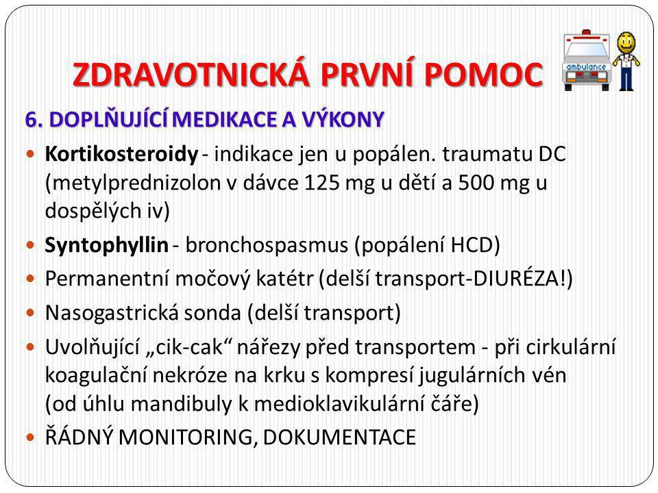 ZDRAVOTNICKÁ PRVNÍ POMOC 6. DOPLŇUJÍCÍ MEDIKACE A VÝKONY Kortikosteroidy - indikace jen u popálen. traumatu DC (metylprednizolon v dávce 125 mg u dětí