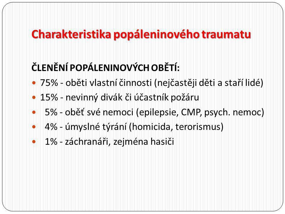 Charakteristika popáleninového traumatu ČLENĚNÍ POPÁLENINOVÝCH OBĚTÍ: 75% - oběti vlastní činnosti (nejčastěji děti a staří lidé) 15% - nevinný divák