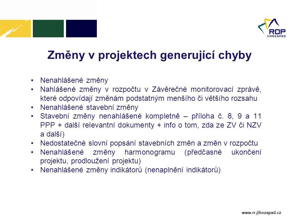 www.rr-jihozapad.cz Změny v projektech generující chyby Nenahlášené změny Nahlášené změny v rozpočtu v Závěrečné monitorovací zprávě, které odpovídají