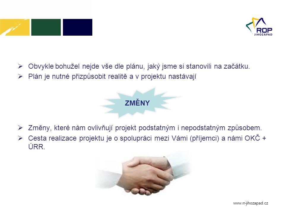 www.rr-jihozapad.cz Obecná pravidla hlášení změn Jakékoliv změny v projektu oproti původnímu plánu je příjemce povinen oznámit oddělení kontroly realizace.