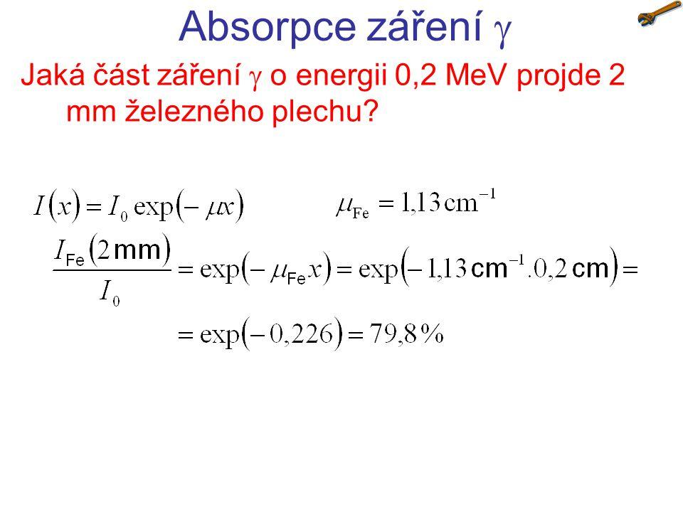 Jaká část záření  o energii 0,2 MeV projde 2 mm železného plechu? Absorpce záření 