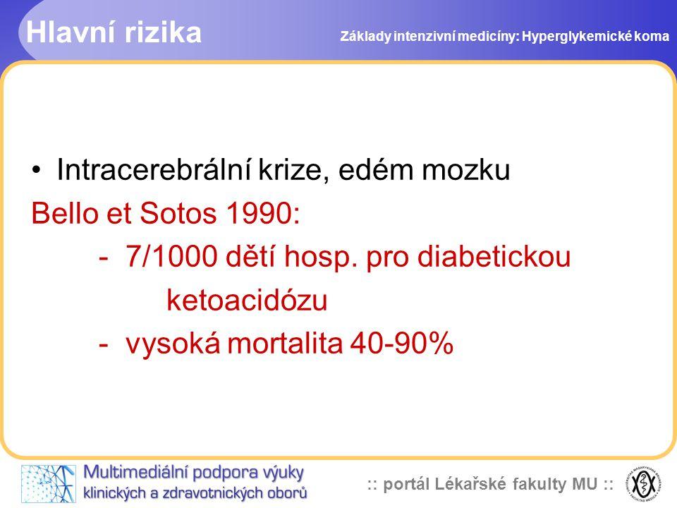 :: portál Lékařské fakulty MU :: Hlavní rizika Intracerebrální krize, edém mozku Bello et Sotos 1990: - 7/1000 dětí hosp. pro diabetickou ketoacidózu